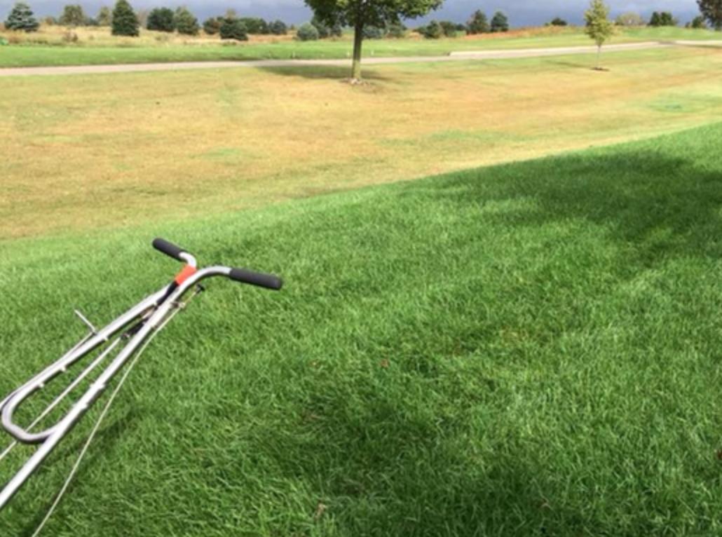 lawn equipment on a lush, green lawn