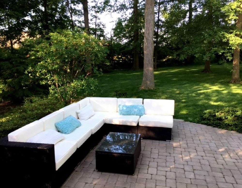 lovely shaded backyard with patio sectional