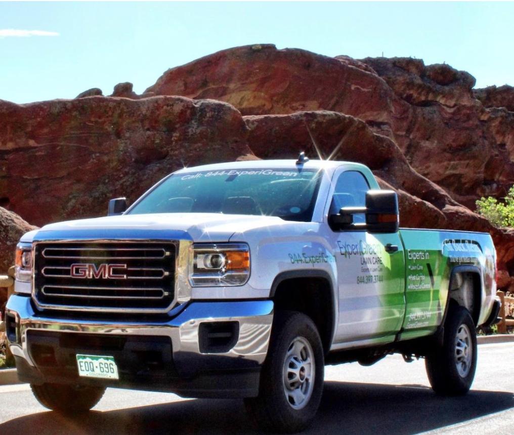 ExperiGreen truck in Denver scenery